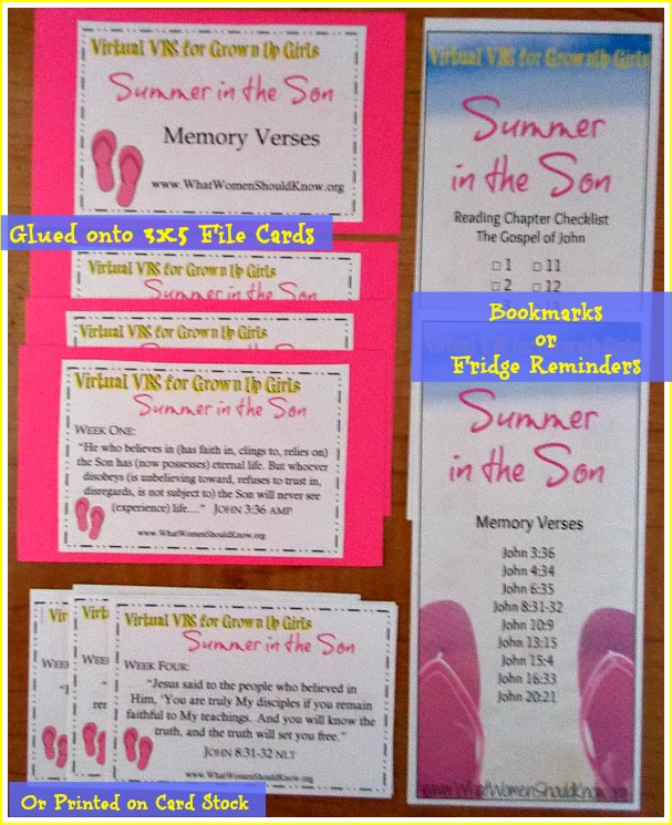 Summer In the Son Memory Verse Printables