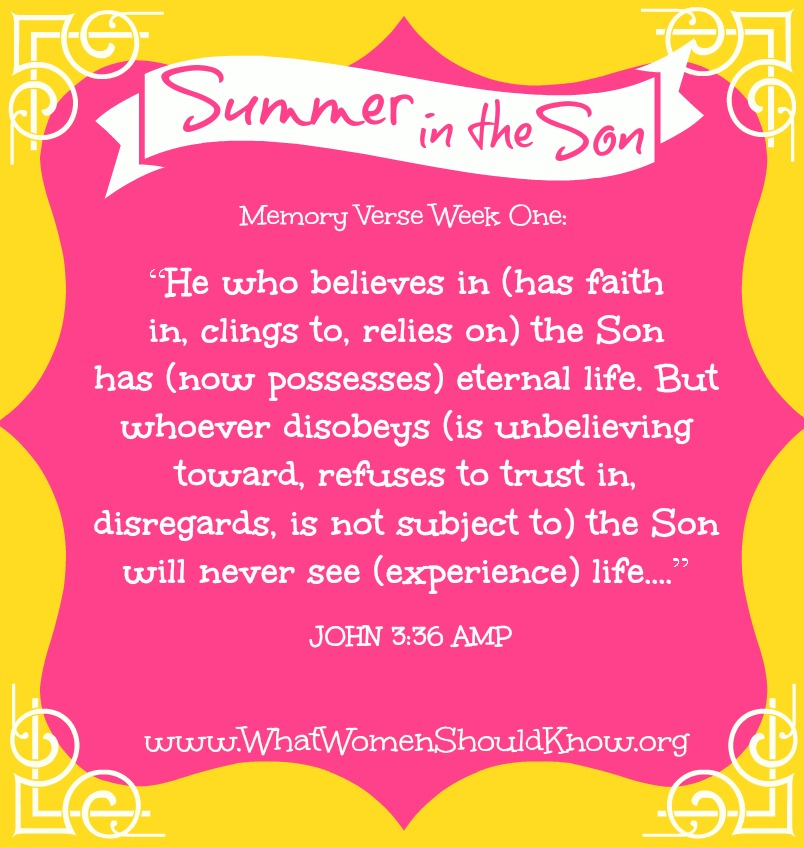 Summer in the Son, Week One Memory Verse: John 3:36