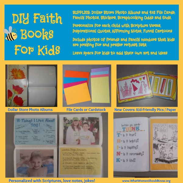 Dollar Store DIY Kids Faith Book: Fill it with memory verses, inspirational quotes, jokes, family photos, and prayer requests!