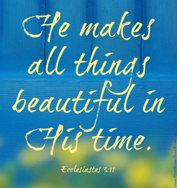 He makes all things beautiful in His time ... Ecc 3:11