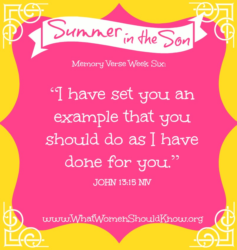 Summer in the Son, Memory Verse Week Six: John 13:15