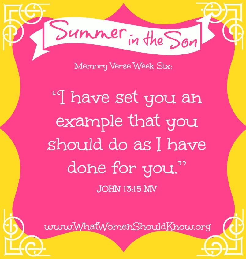 Summer in the Son, Memory Verse Week Six: John 13:15