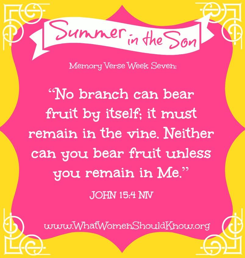Summer in the Son Memory Verse: Week 7