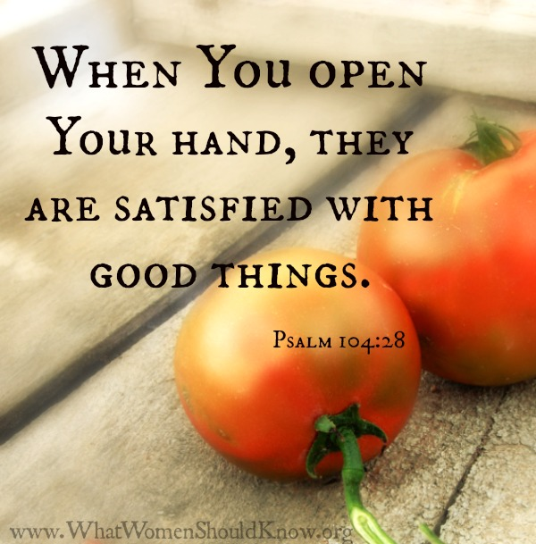 """When You open Your hand, they are satisfied with good things."" Psalm 104:28"