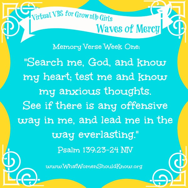 Virtual VBS for GrownUp Girls Memory Verse Week One