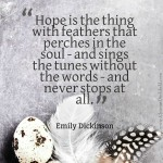 Hope Is the Thing With Feathers ~ Emily Dickinson