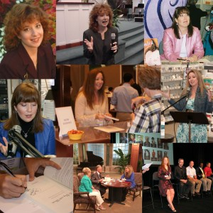 "Top left corner: my first professional ""author headshot"" -- plus a few other pics of booksignings, speaking, and media appearances from different eras (and hairstyles)."