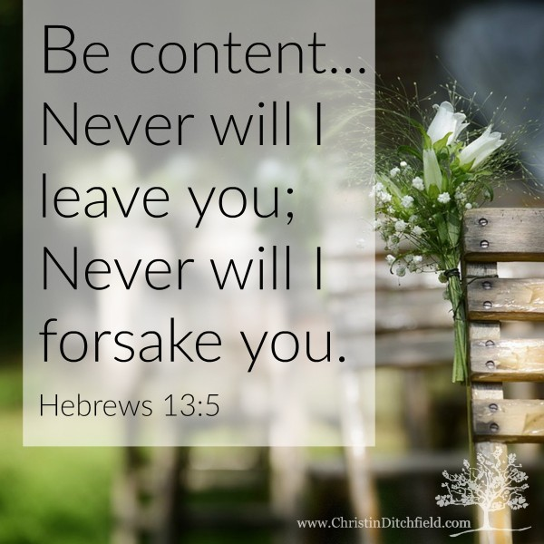 Hebrews 13:5 Never will I leave you