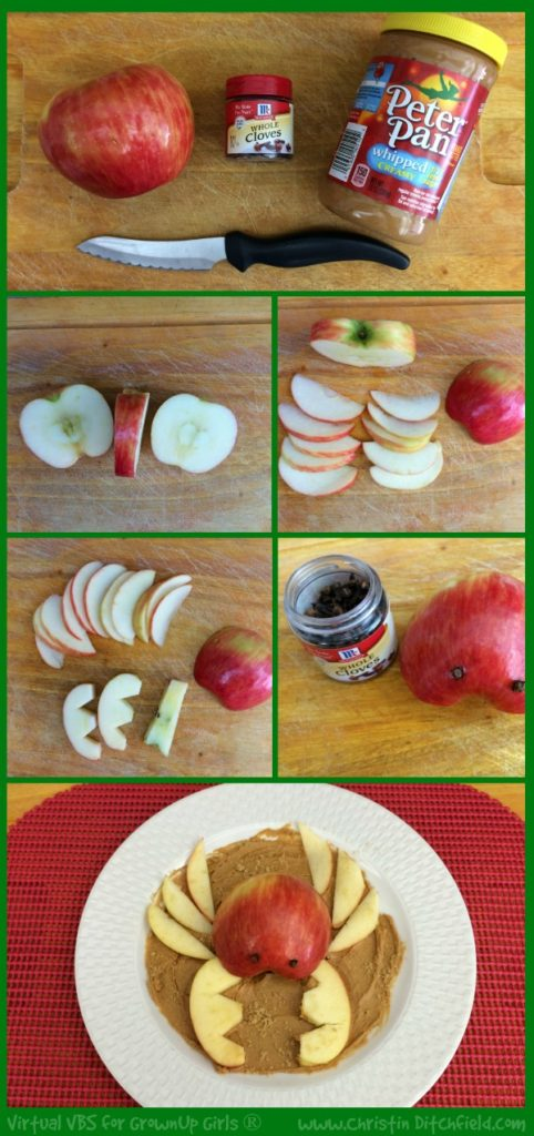 VBS Apple and Peanut Butter Crab Snack